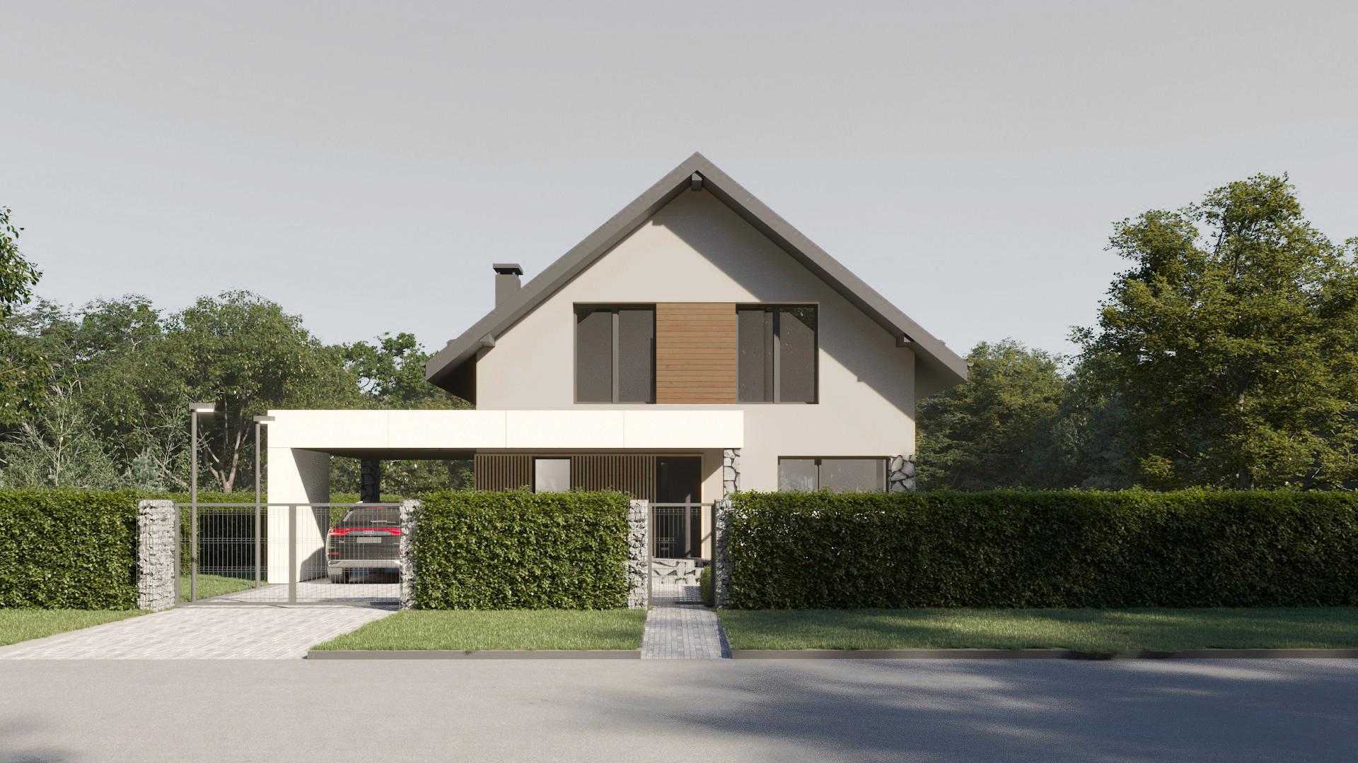 Архитектурный проект дома с навесом для автомобиля