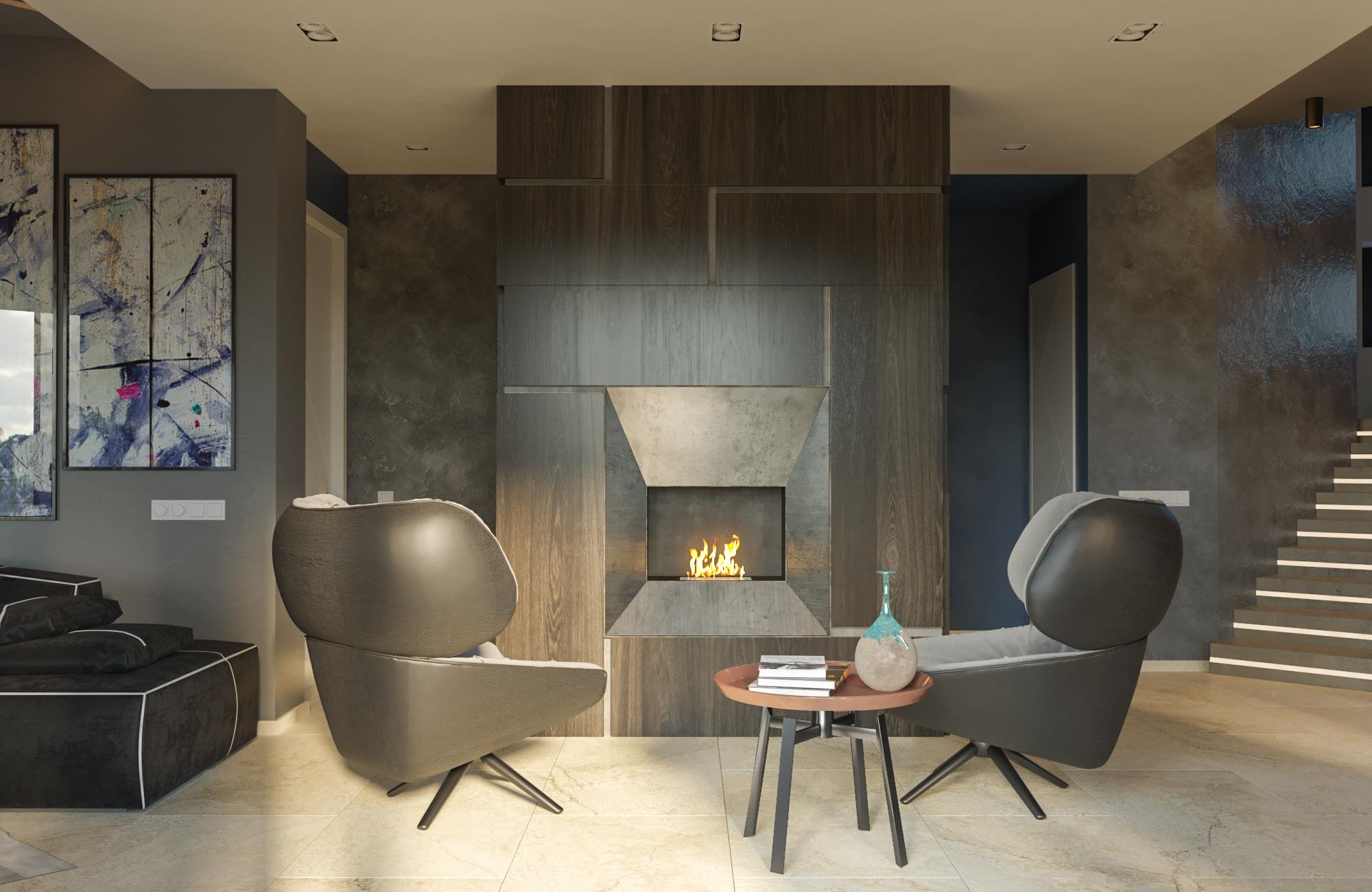 Тёплый серый дизайн интерьера дома в Колодищах