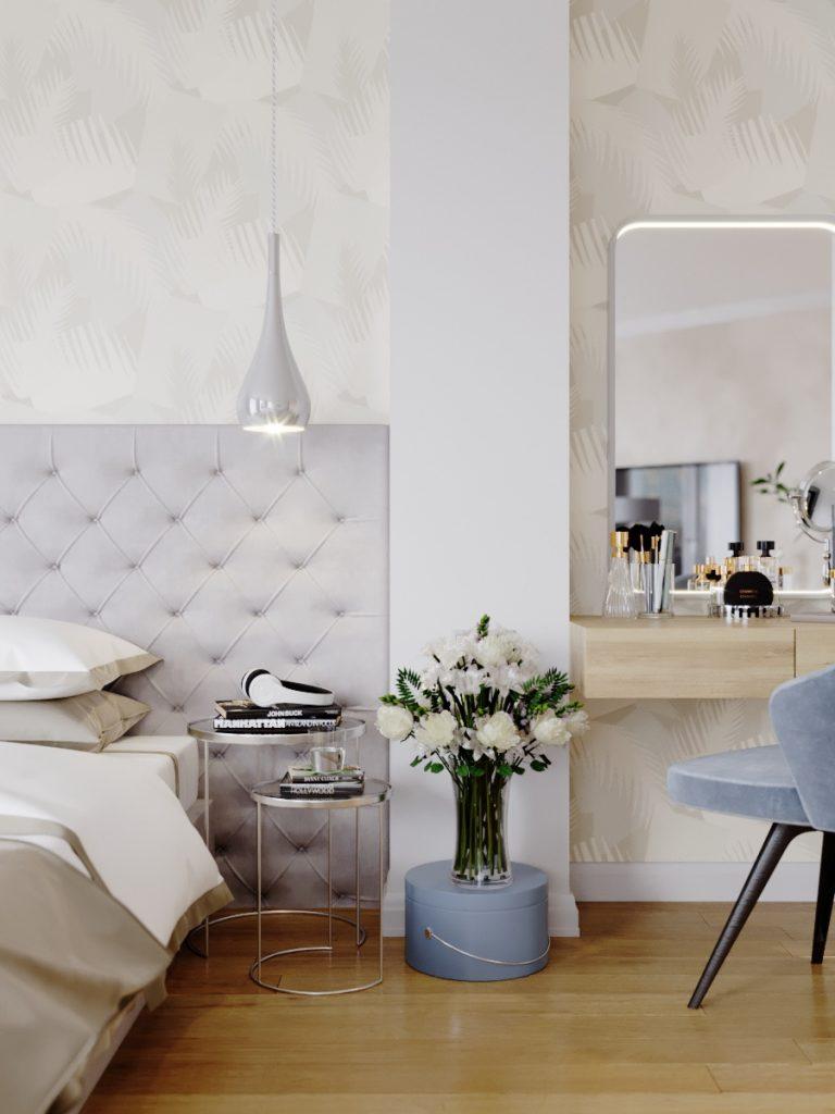 Лёгкий дизайн спальни с функцией гостиной в Минске