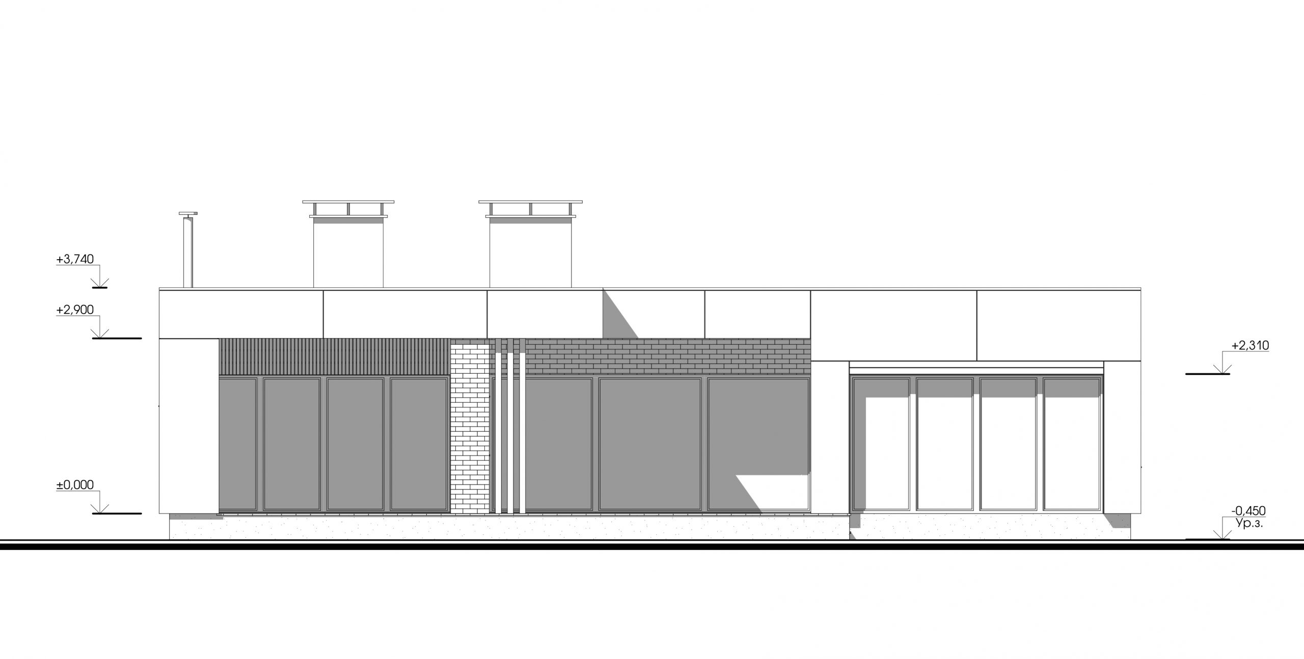 Дом с плоской крышей. Дизайн-проект фасадов
