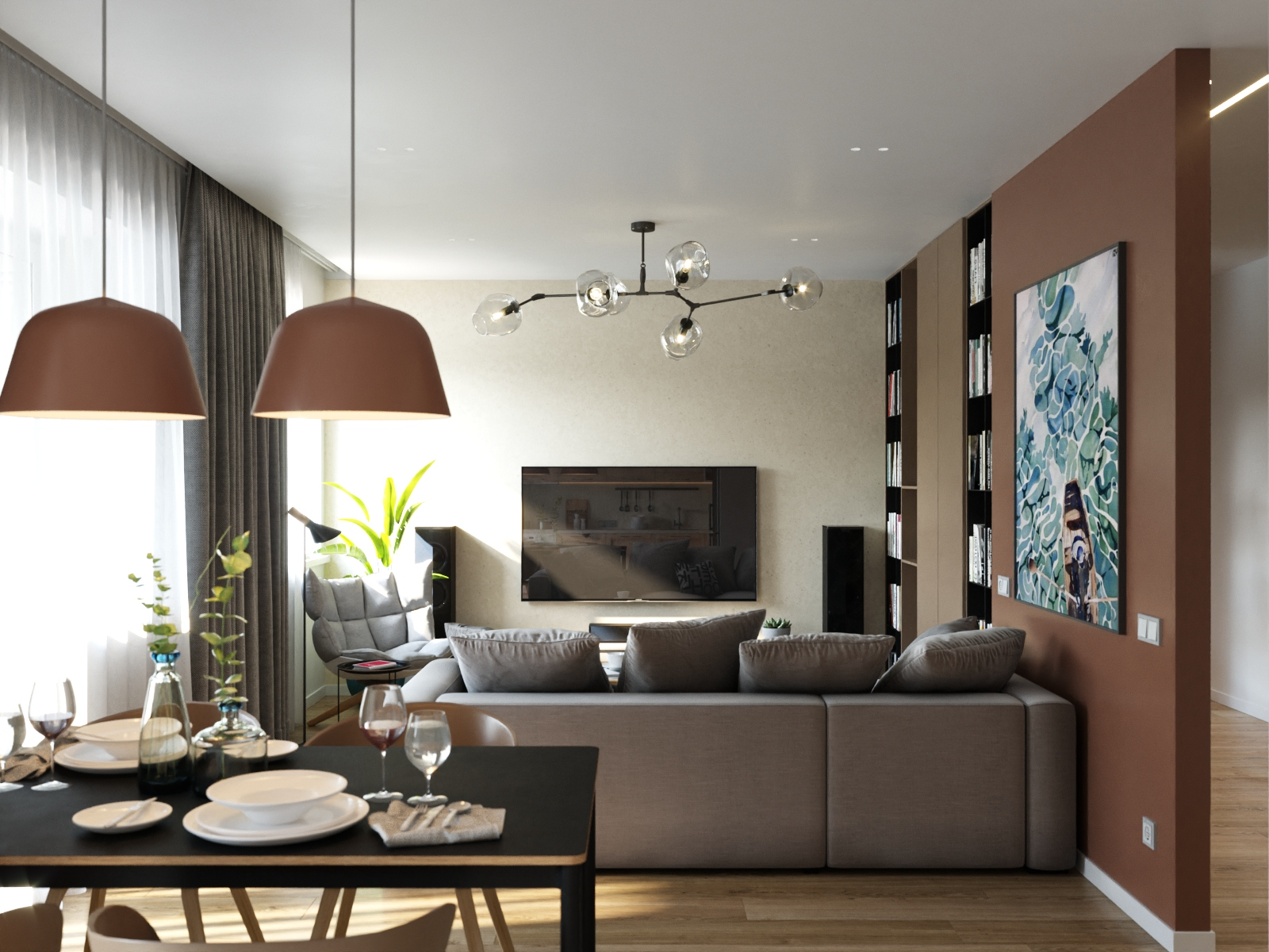 Тёплый дизайн квартиры на улице Олешева в Минске