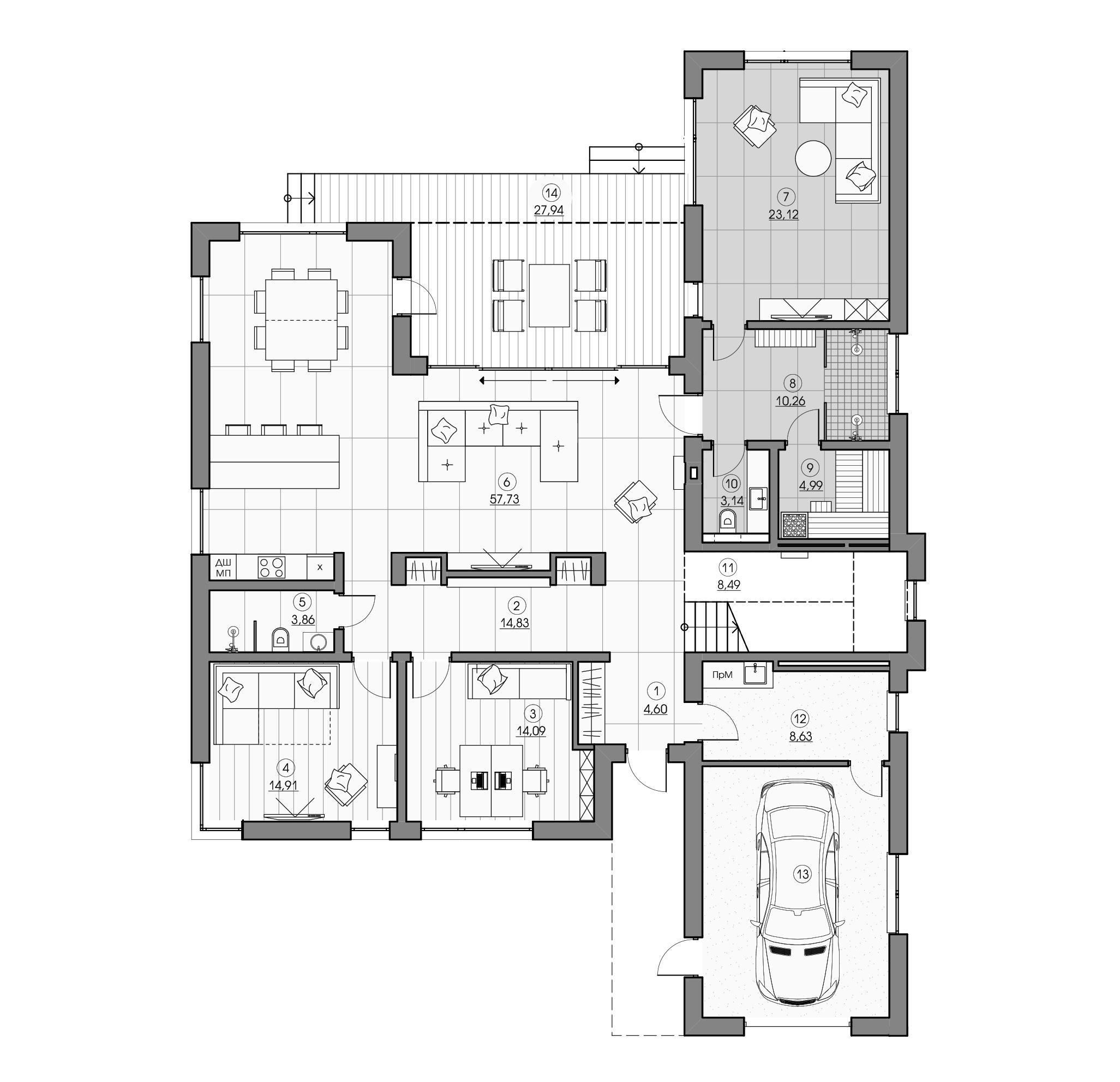Уютный дизайн просторного дома в деревне Бузуны