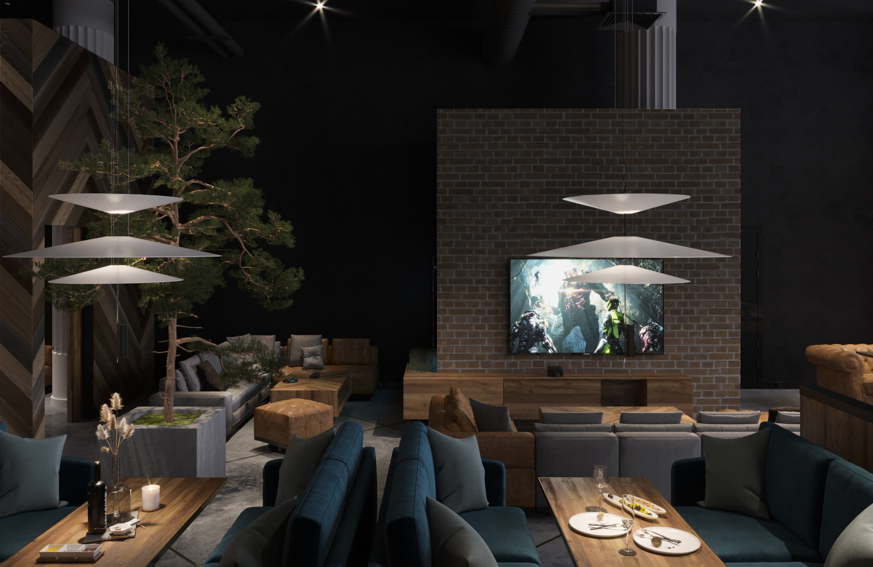 Дизайн ресторана-кальянной «Шишка» в Минске