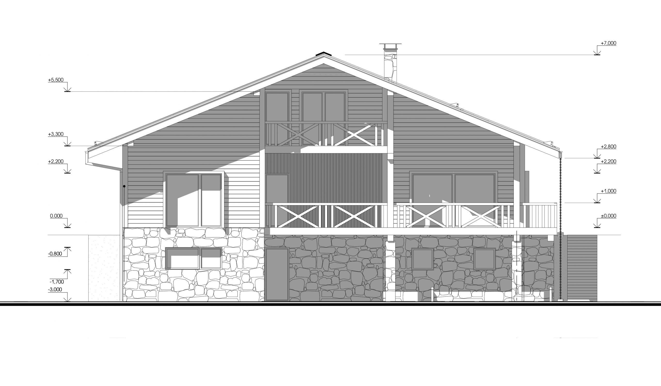 Архитектурный проект дома на рельефе