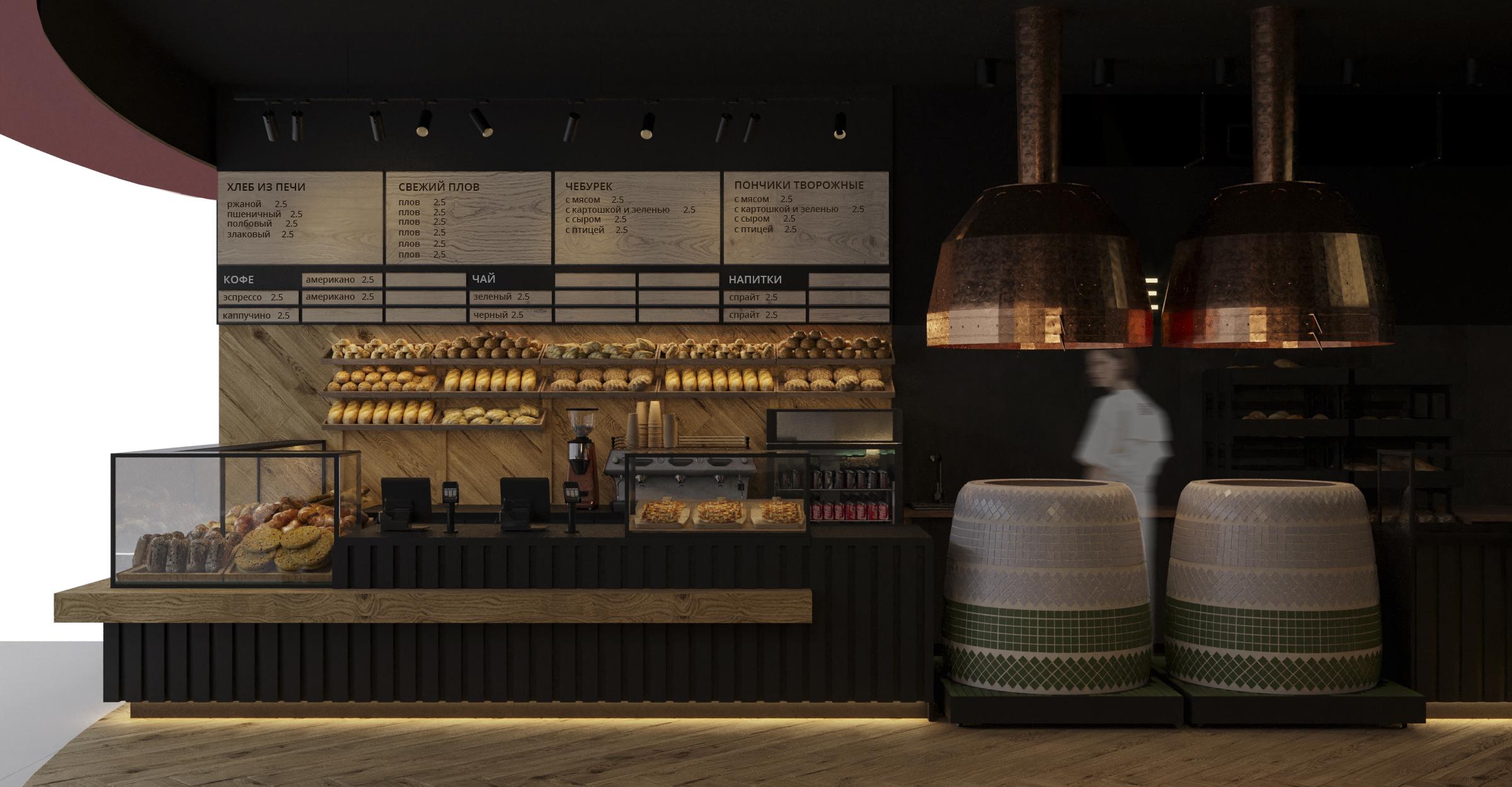 Дизайн кафе «Kinza» В ТЦ «МОМО» в Минске