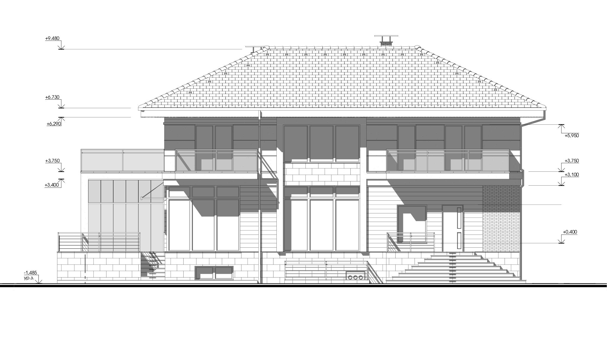 Архитектурный проект дома с вальмовой крышей