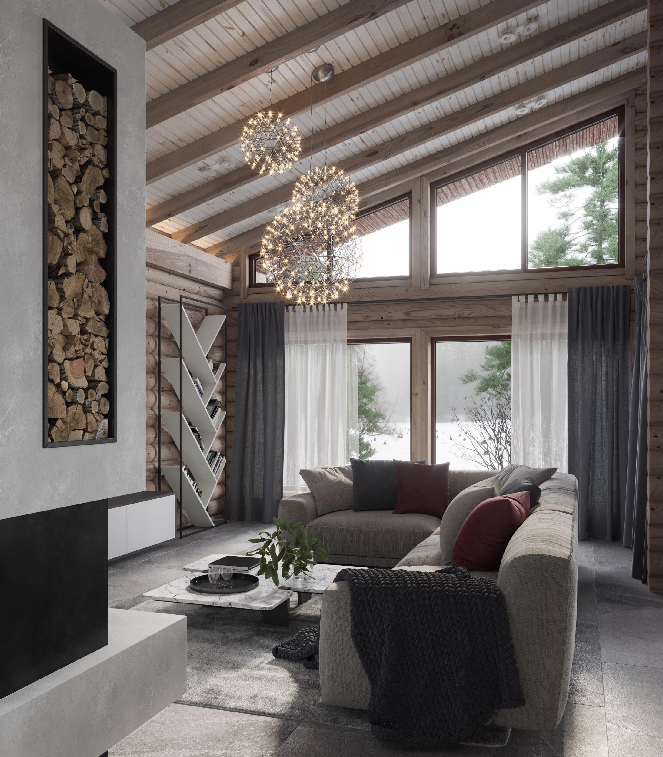 Дизайн деревянного дома в деревне Лихачи
