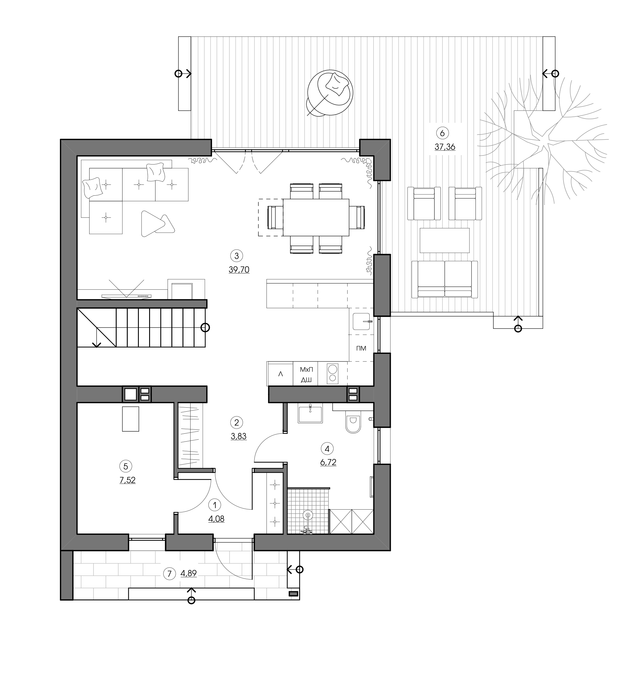 Архитектурный проект дома с мансардным этажом