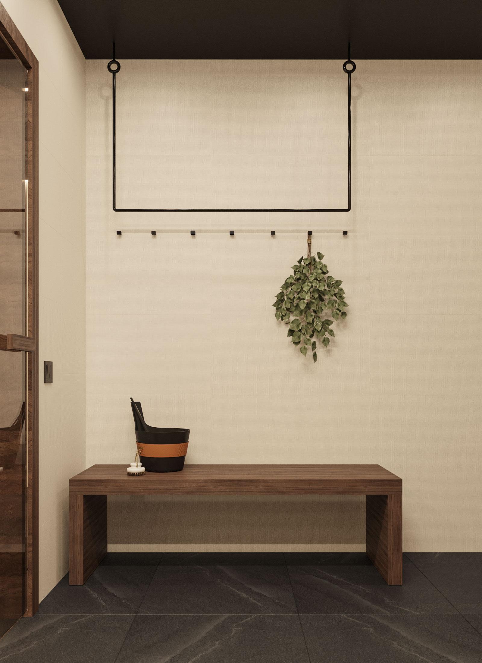 Интерьер бани с комнатой отдыха в деревне Чуденичи