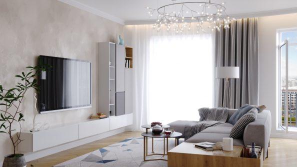 Лёгкий дизайн спальни с функцией гостиной