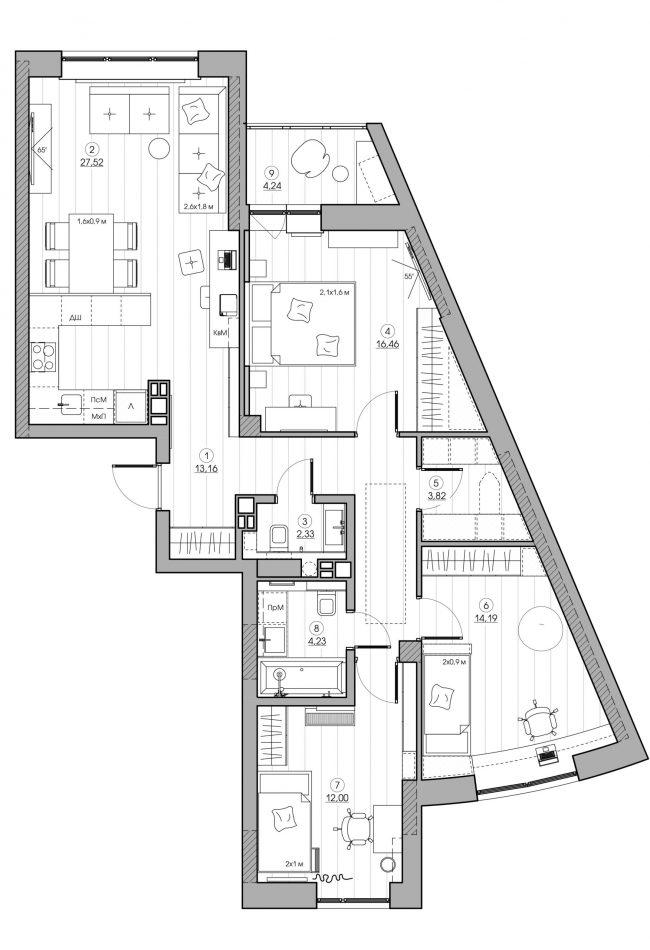 Интерьер квартиры на проспекте Дзержинского в Минске