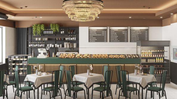 Дизайн интерьера кафе ТЦ «ГУМ» в г. Минске
