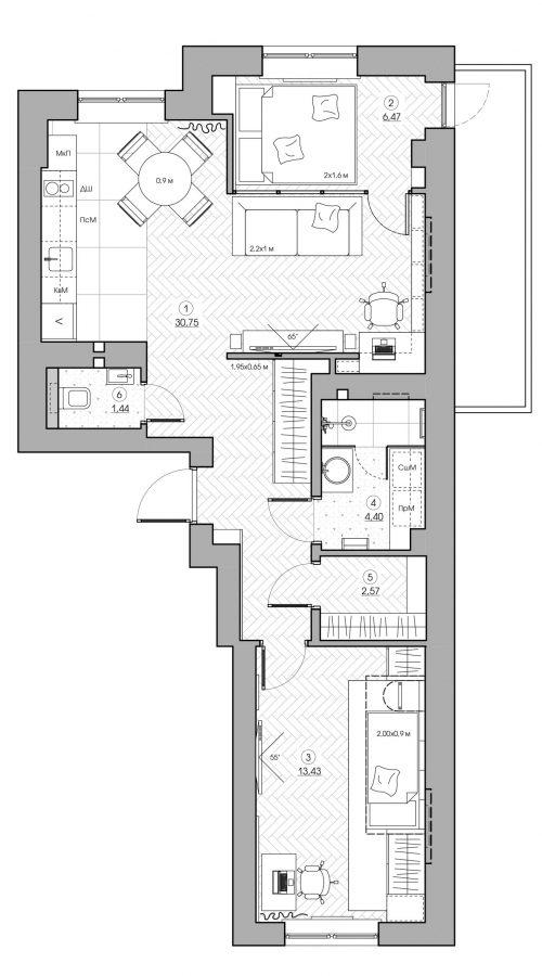 Стильный интерьер квартиры на улице Полевой